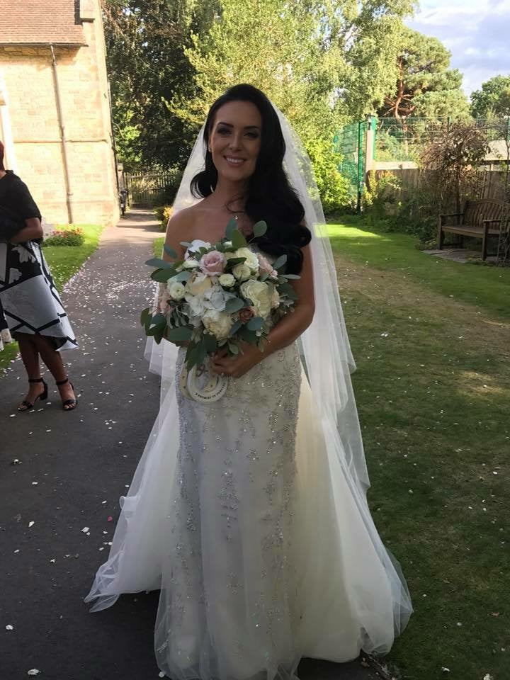 Real Bride Carly in a bespoke Fine English Tulle two tier wedding veil by Blossom and Bluebird