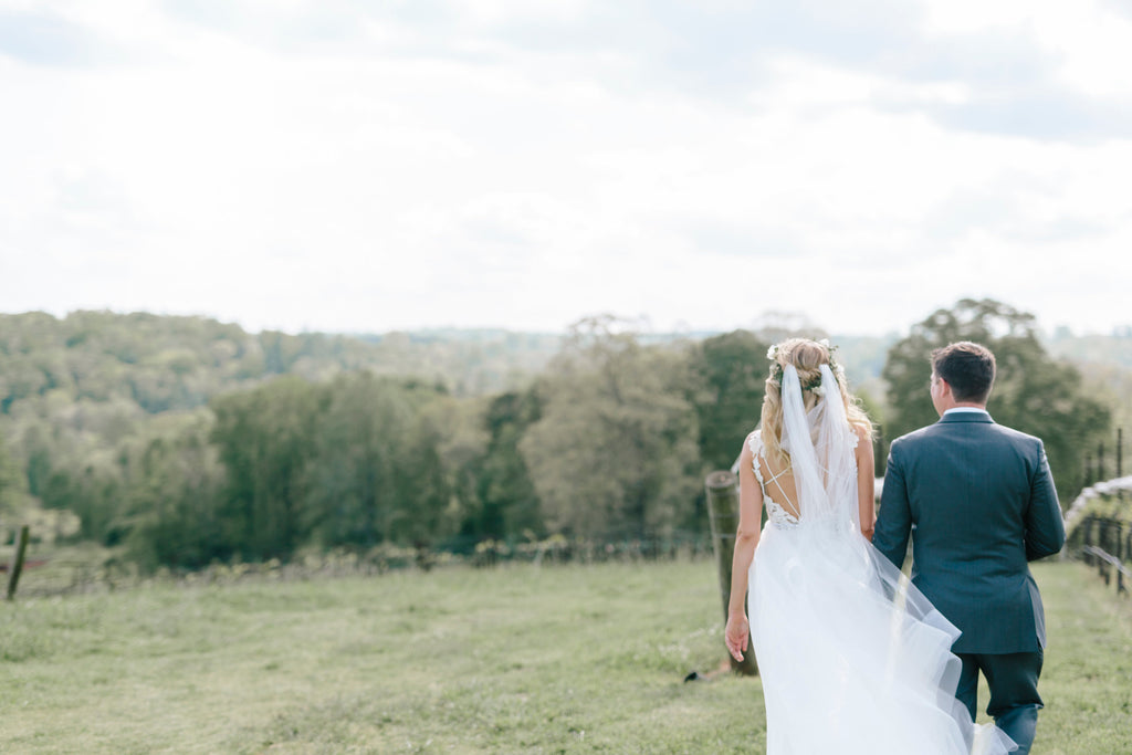 Real Bride Chloe in the Liberty bohemian wedding veil by Blossom and Bluebird