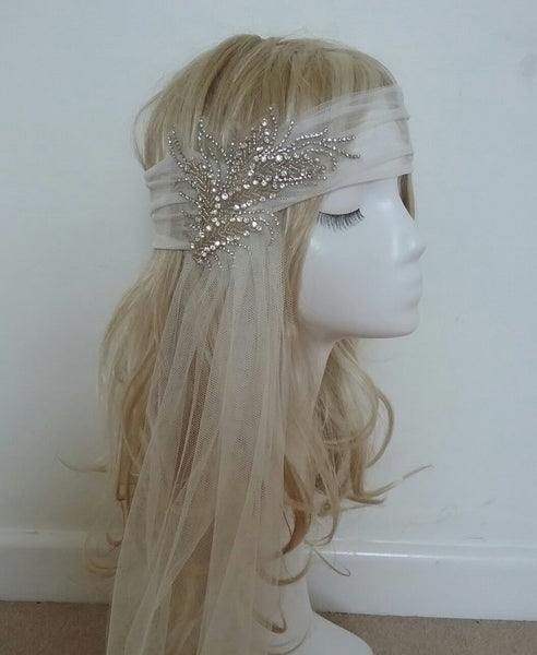 Bespoke headband version of the Mina veil from Blossom and Bluebird
