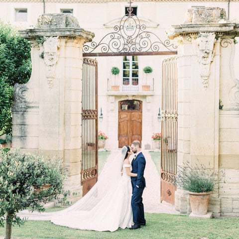 French chateau wedding with pure silk tulle veil