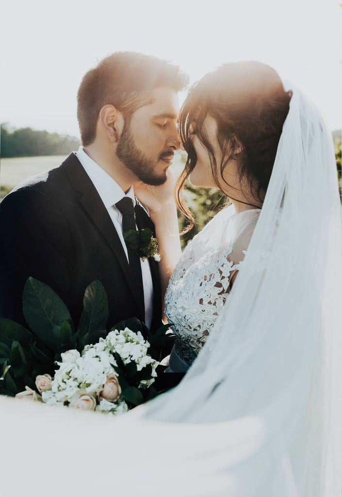 Real Bride Rubi in the Beauty veil by Blossom and Bluebird