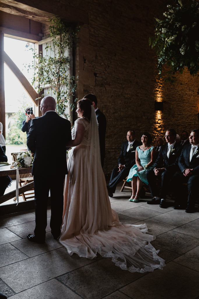 Real Bride Sarah in the Diana Uncorded lace-edged veil by Blossom and Bluebird