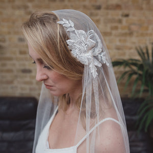 Soft silk style Juliet cap wedding veil by Blossom and Bluebird