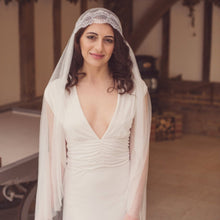 Handmade pure silk tulle Juliet cap wedding veil with Chantilly eyelash lace by Blossom and Bluebird