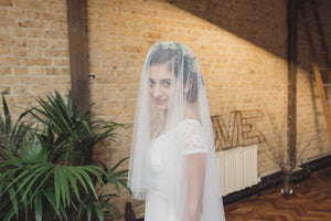 Two tier veil, wedding veil, English Net veil, blusher veil, silk style veil, 2 tier veil, fingertip veil, cathedral veil - 'SARAH'