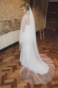 Silky two tier veil, wide 2 tier veil, silk style veil, blusher, English Net, wedding veil, fingertip, waltz, chapel, cathedral