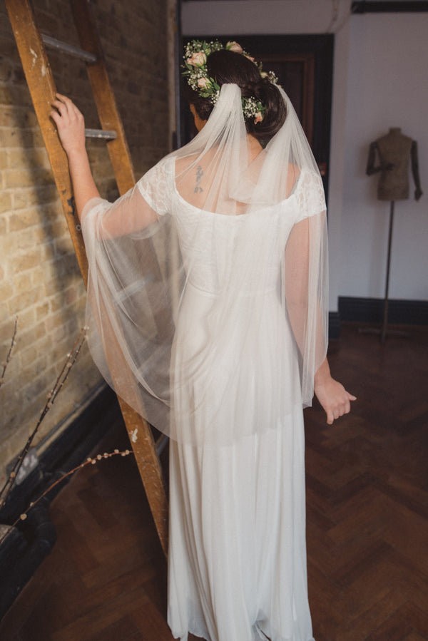 Silk tulle drape veil, draped veil, soft silk tulle boho veil,  French silk tulle veil, white veil, fingertip, chapel, cathedral - 'MEADOW'