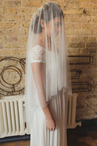 Pure French Silk Tulle drop wedding veil, in the style of Kate Middleton's wedding veil, by Blossom and Bluebird