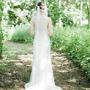 Soft silk style draped veil by Blossom and Bluebird