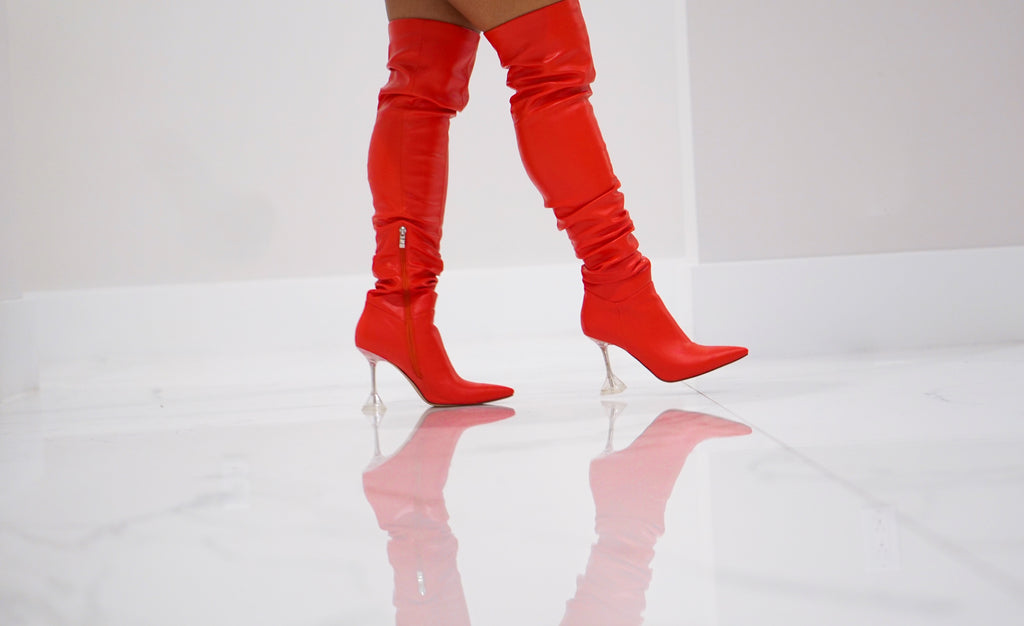 Delta Over the Knee Boot-Red