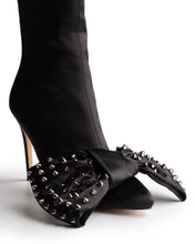 ICCONIC BOOT BLACK STUDDED SATIN