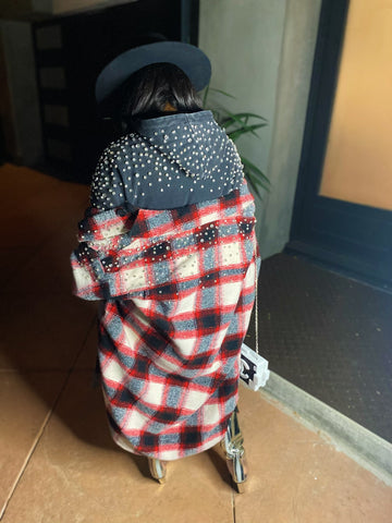 Pre-Order 88 Plaid Shacket-Red(Ships 2nd Week Of Jan)