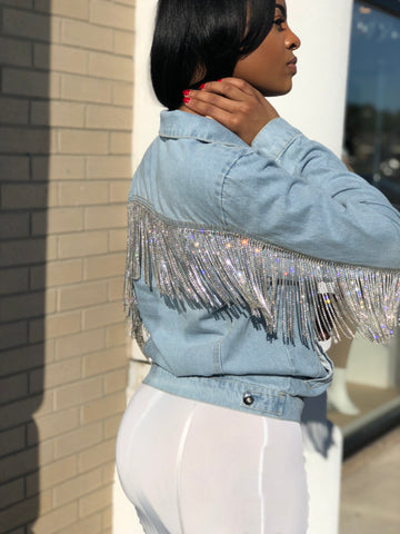 Bling Fringe Denim Jacket