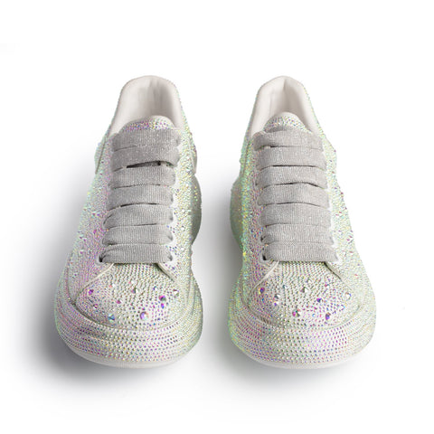 City Crystal Platform Sole Sneaker-White