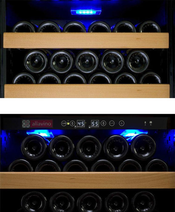 Allavino Vite Series 610 Bottle Dual-Zone Wine Refrigerator - Side-by-Side with Black Doors 2X-YHWR305-1BT - Wine Coolers USA