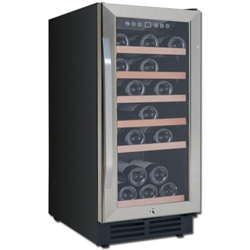 Avanti 30-Bottle Wine Chiller - Black Cabinet and Stainless Steel Framed Glass Door WC3015S3S - Wine Coolers USA