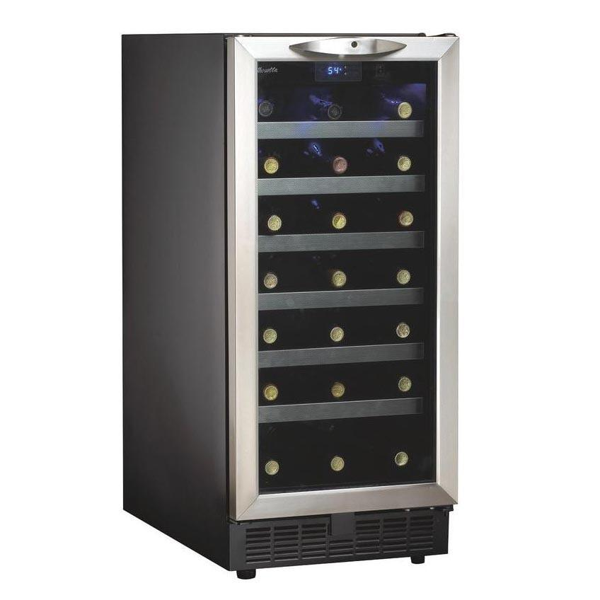 "Danby 15"" 34-Bottle Built-in Wine Cooler - Stainless Steel Door Trim DWC1534BLS - Wine Coolers USA"