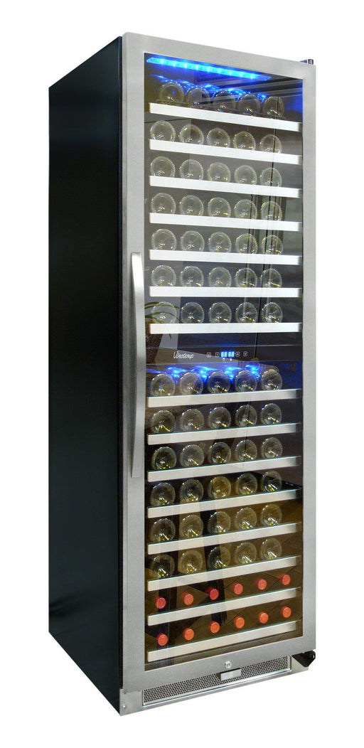 Vinotemp 155-Bottle Dual-Zone Connoisseur Series Wine Cooler VT-150-2Z-SSDST-L - Wine Coolers USA