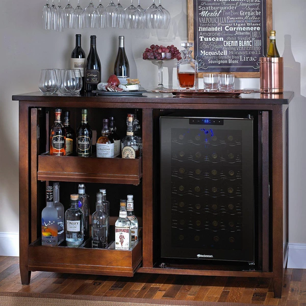 Wine Enthusiast Firenze Mezzo Wine and Spirits Credenza with 28 Bottle Touchscreen Wine Refrigerator - Nero