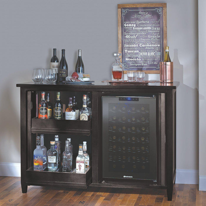 Wine Enthusiast Firenze Mezzo Wine and Spirits Credenza with 28 Bottle Touchscreen Wine Refrigerator - Nero 335-95-03 - Wine Coolers USA