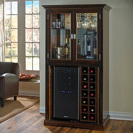 Wine Enthusiast Firenze Wine and Spirits Armoire Bar with 32 Bottle Touchscreen Wine Refrigerator 335-97-01-02 - Wine Coolers USA