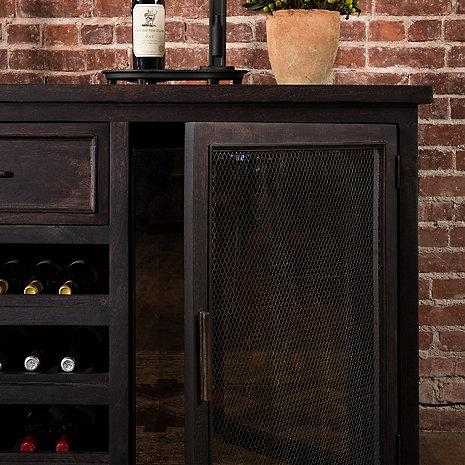 Wine Enthusiast Montagny Wine Credenza - Brass Mesh With Two Wine Refrigerator 335-01-06-68 - Wine Coolers USA