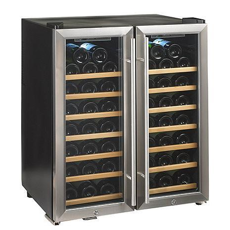 Wine Enthusiast Silent 48 Bottle Double Door Dual Zone Wine Refrigerator (Stainless Steel Trim Door) (Wood Front Shelves)-Wine Refrigerator-Wine Coolers USA