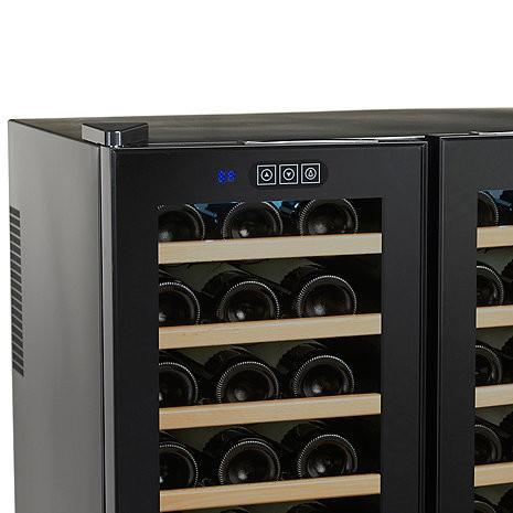 Wine Enthusiast Silent 48 Bottle Touchscreen Double Door Dual Zone Wine Refrigerator (Smoked Glass Doors) (Wood Front Shelves)-Wine Refrigerator-Wine Coolers USA