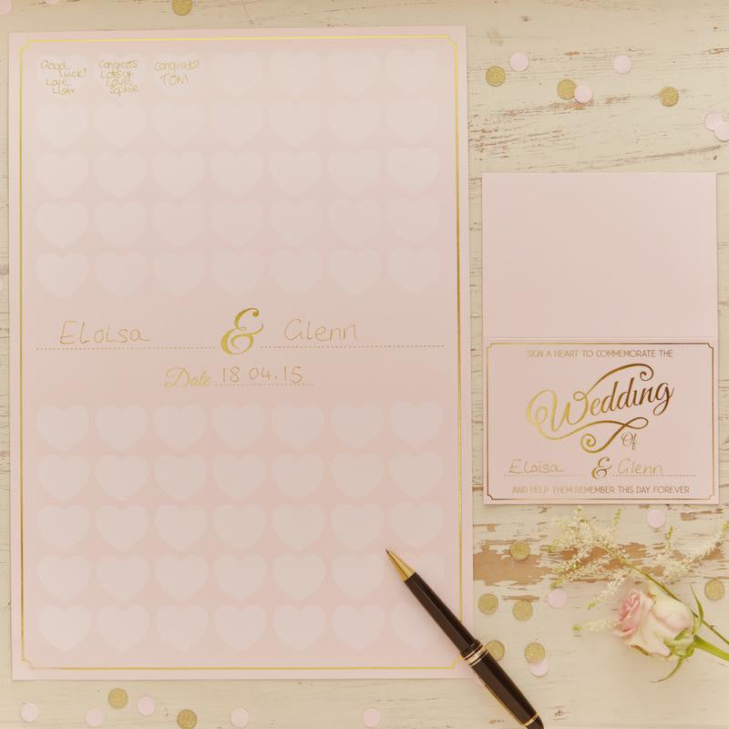 Ginger Ray alternative guest book - A3 heart rose gold poster
