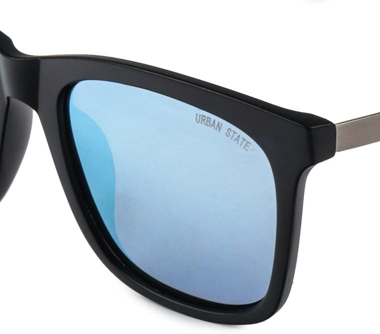 Polarized Square Plastic Framed Sunnies - Blue Black
