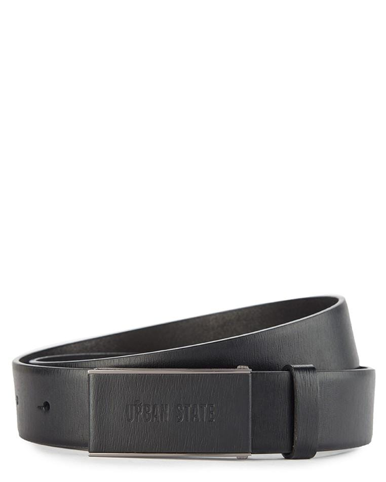Rectangular Top Grain Leather Plate Buckle Belt Belts - Urban State Indonesia