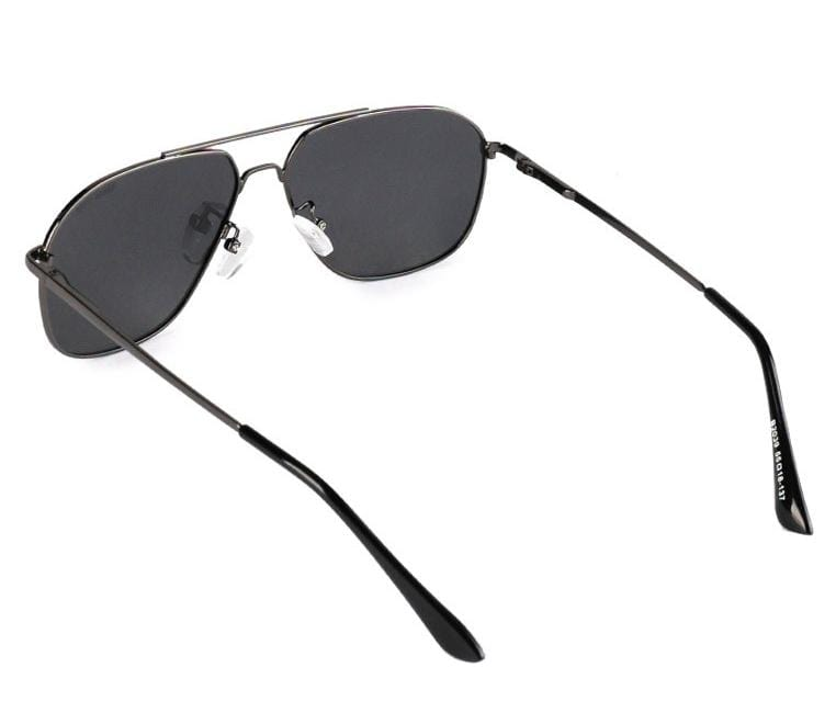 Polarized Metal Framed Oval Aviator Sunglasses - Black Silver