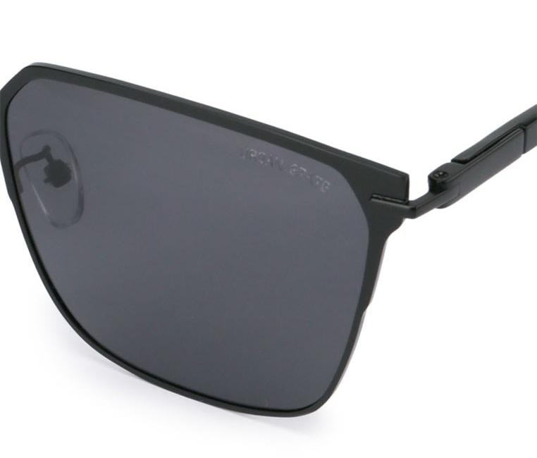 Polarized Browline Rectangular Sunglasses - Black Black
