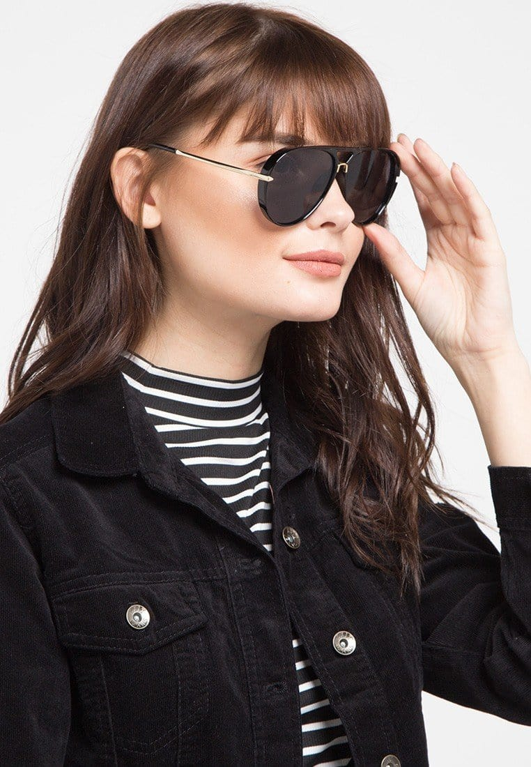 Plastic Framed Aviator Sunglasses - Black Glossy Sunglasses - Urban State Indonesia