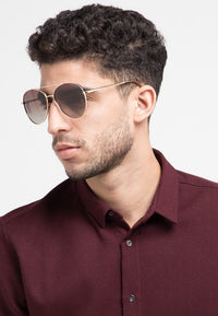 Polarized Large Oval Aviator Sunglasses - Brown Gold