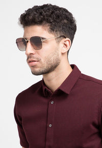 Polarized Oversized Rectangular Aviator Sunglasses - Brown Gold