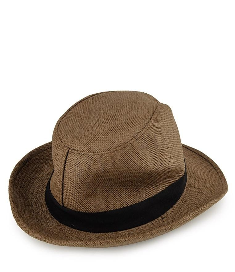 Canvas Wide Brim Trilby Hat - Brown Fedora Hat - Urban State Indonesia