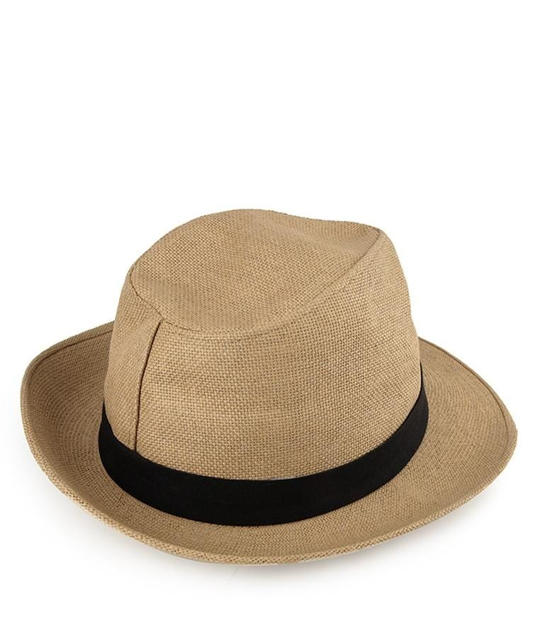 Canvas Wide Brim Trilby Hat - Camel