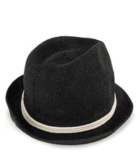 Crochet Trilby Hat - Black Fedora Hat - Urban State Indonesia