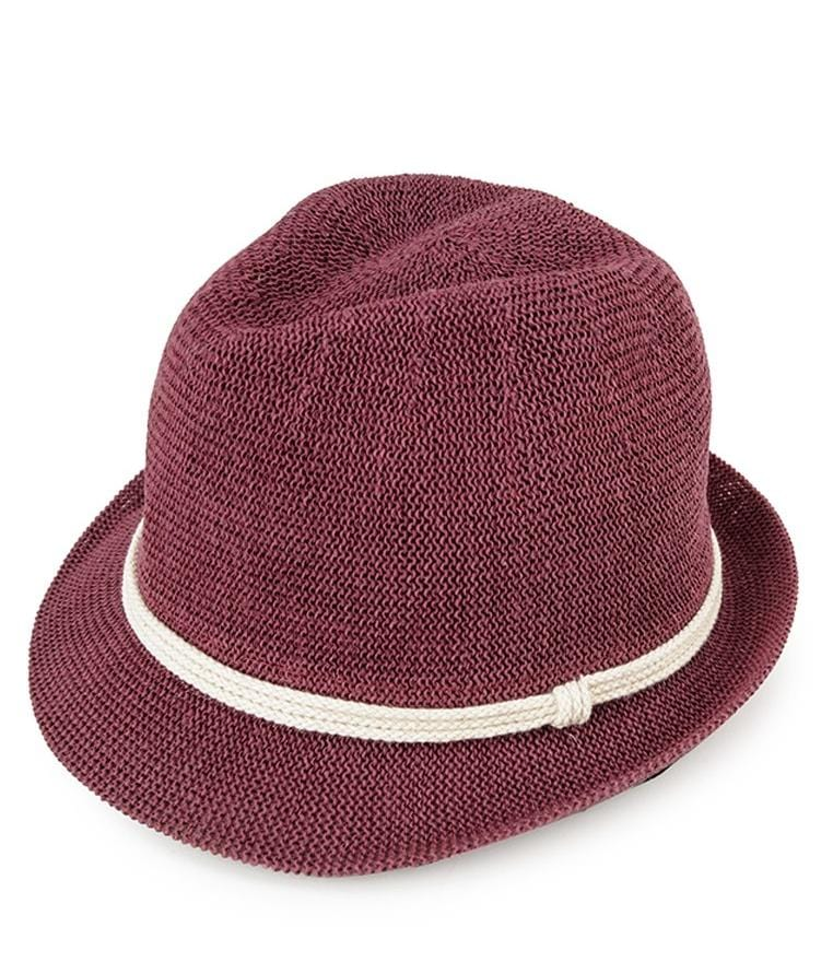 Crochet Trilby Hat - Maroon Fedora Hat - Urban State Indonesia