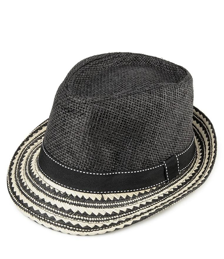 Tribal Straw Trilby Hat - Black