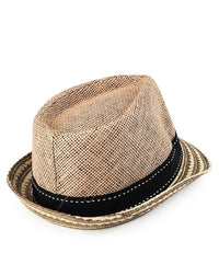 Tribal Straw Trilby Hat - Camel