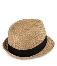 Paper Straw Trilby Hat - Camel