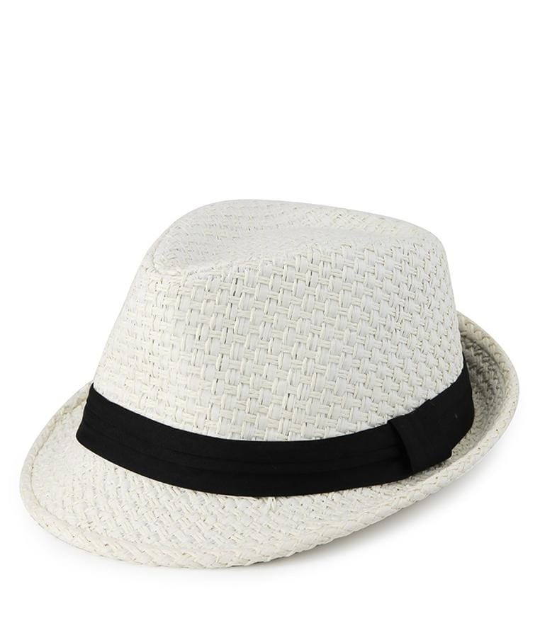 Paper Straw Trilby Hat - White Fedora Hat - Urban State Indonesia