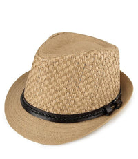 Belted Straw Trilby Hat - Camel Fedora Hat - Urban State Indonesia