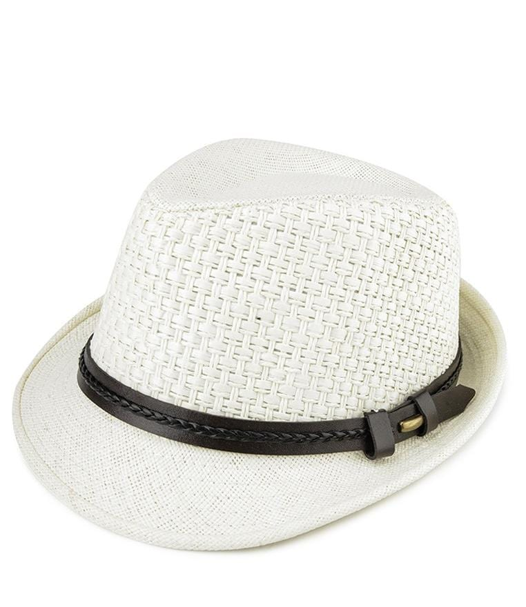 Belted Straw Trilby Hat - White Fedora Hat - Urban State Indonesia