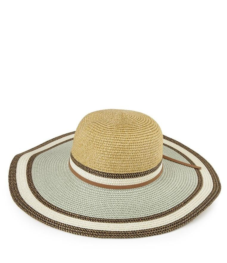 Stripe Summer Floppy Hat - Beige Green
