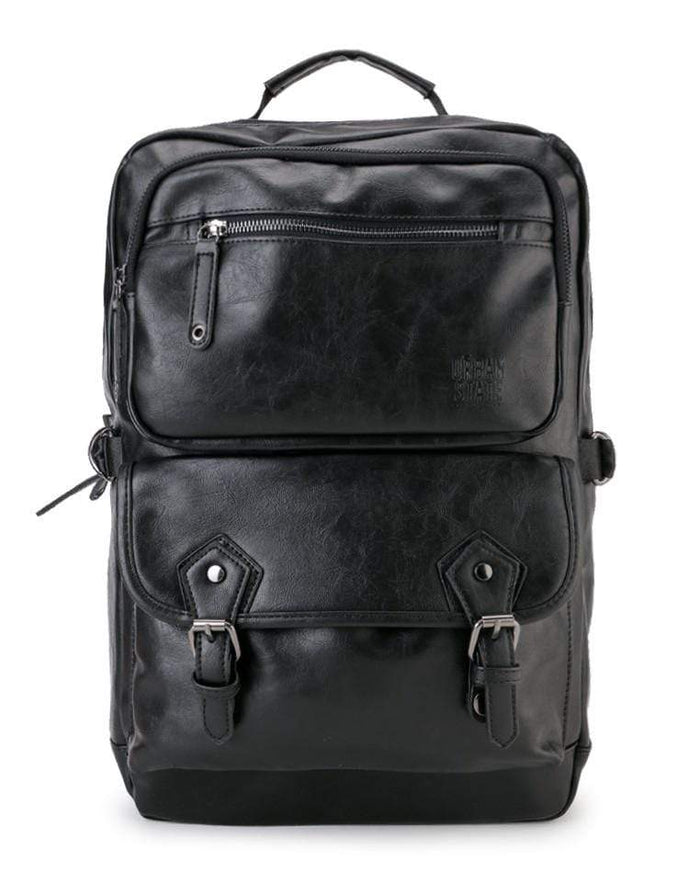 Pu Buckled Zipper Backpack - Black Backpacks - Urban State Indonesia
