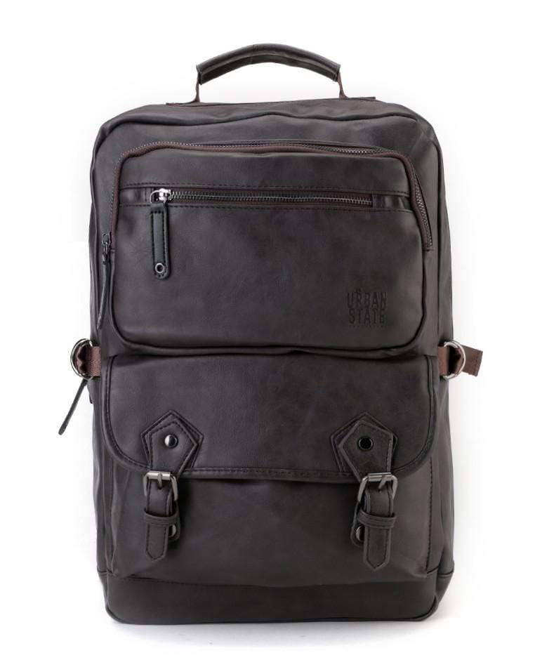 Pu Buckled Zipper Backpack - Brown Backpacks - Urban State Indonesia