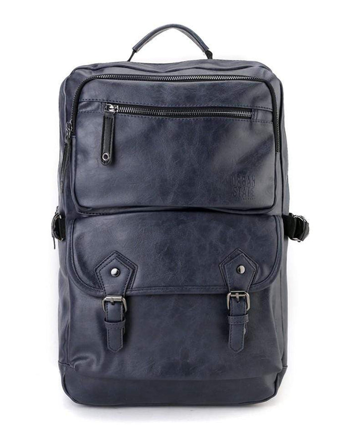 Pu Buckled Zipper Backpack - Navy